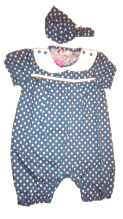 BLUE POLKA DOT ROMPER SUIT WITH HEADPIECE.