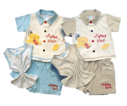 BOYS FUNNY TIME THREE PIECE SET
