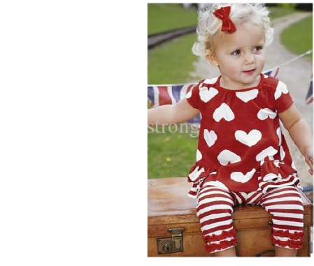 RED HEART BLOUSE WITH MATCHING STRIPE LACE LEGGINGS