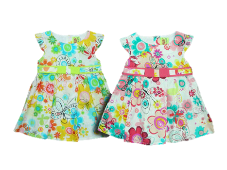 MULTICOLOURED BUTTERFLY FLOWERY DRESS