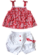 RED AND WHITE DITSY PRINT BABY GIRLS SET